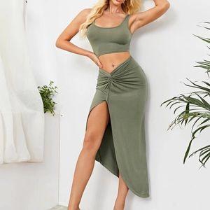 Green Crop Tank Top & Split Thigh Twist Skirt Set